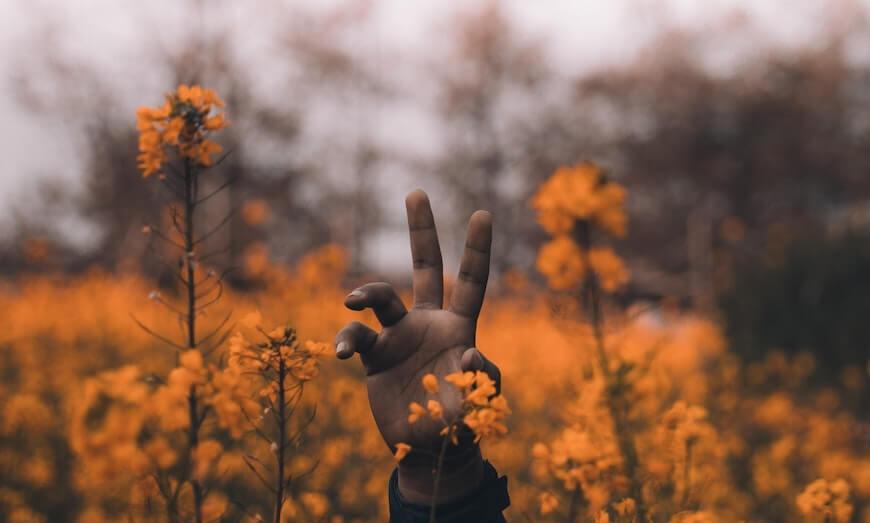 Рука хлопця в оранжовому полі
